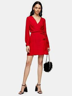 topshop-twist-front-mini-dress-red