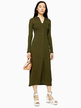 topshop-rib-midi-cardigan-dress-khaki