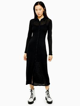 topshop-rib-midi-cardigan-dress-black