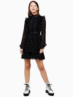 topshop-topshop-dobby-spot-mini-dress-black