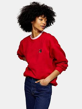 topshop-sloth-embroidered-sweatshirt-red