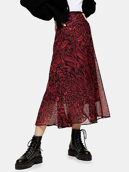 topshop-warped-leo-godet-midi-skirt-red