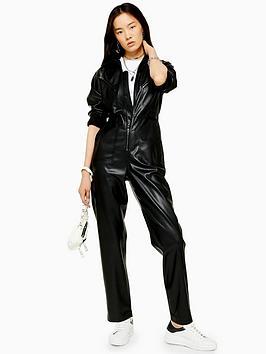 topshop-topshop-pu-boilersuit-black