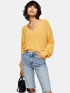 topshop-fluffy-v-neck-super-crop-jumper-mustard