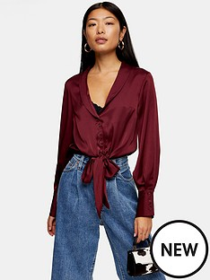topshop-tall-satin-knot-front-shirt-burgundy