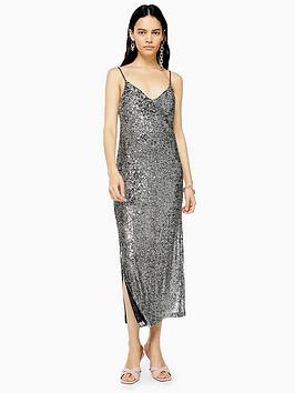 topshop-sequin-midi-dress-silver