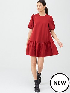 v-by-very-crepe-smock-dress-red