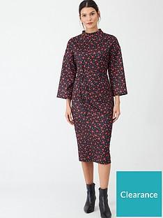 v-by-very-tie-waist-printed-midi-dress-heart-print