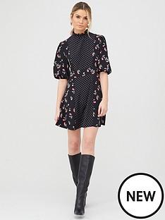 v-by-very-mixed-print-skater-dress-cherry