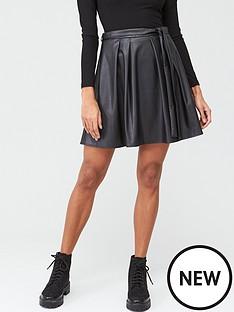v-by-very-pu-skater-skirt-black