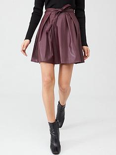 v-by-very-tie-waist-pu-skater-skirt-berry