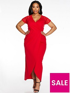 quiz-curve-cap-sleeve-lace-wrap-dress-red