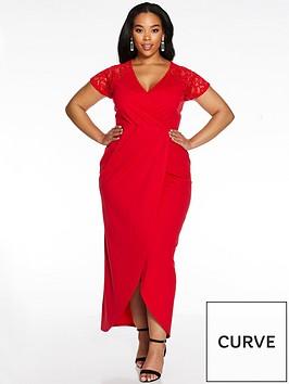 quiz-curve-cap-sleeve-lace-wrap-dress-red