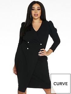 quiz-curve-puff-shoulder-three-quarter-sleeve-wrap-button-midi-dress-black