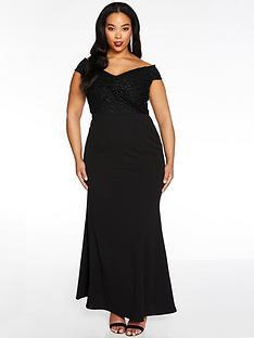 quiz-curve-bardot-lace-knot-front-maxi-dress-black