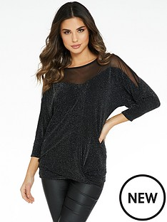 quiz-brillo-sweetheart-knit-bottom-mesh-insert-batwing-top-black