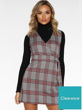 quiz-jacquard-zip-front-pocket-detail-pinafore-dress-black