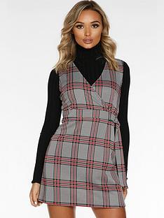 quiz-quiz-blackred-jacquard-zip-front-pocket-detail-pinafore-dress