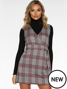 quiz-quiz-blackred-jacquard-zip-front-pocket-detail-pinafore-dress