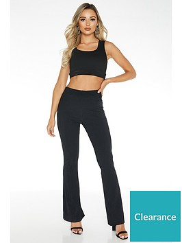 quiz-black-ribbed-fit-and-flare-trouser