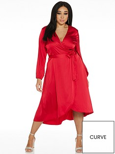 quiz-curve-satin-long-sleeved-dip-hem-wrap-top-dress-red