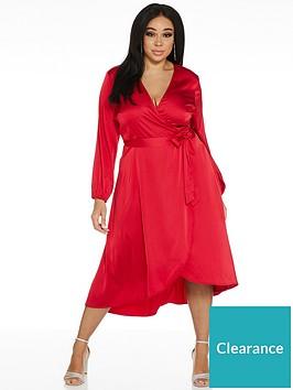 quiz-curve-satin-long-sleeved-dip-hem-wrap-top-dress-red