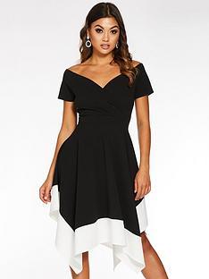 quiz-bardot-asymmetric-contrast-midi-dress-black