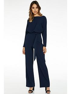 quiz-boule-long-sleeve-batwing-palazzo-jumpsuit-navy