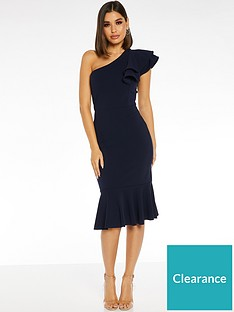 quiz-scuba-crepe-double-frill-one-shoulder-fishtail-frill-midi-dress-navy