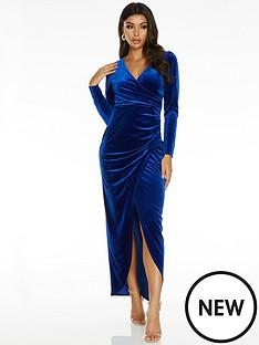 quiz-wrap-long-sleeve-maxi-dress-blue