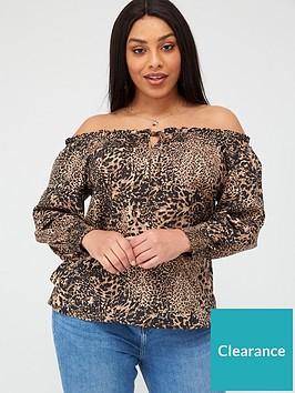 v-by-very-curve-printed-bardot-blouse-print