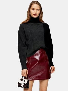 topshop-cashmere-crop-roll-neck-jumper-charcoal