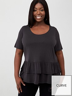 v-by-very-curve-ruffle-hem-rib-tee-black