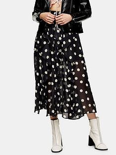 topshop-topshop-spot-ruffle-midi-skirt-black