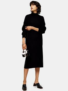 topshop-wool-mix-midi-dress-black