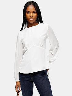 topshop-plain-sheer-sleeve-tea-blouse-ivory