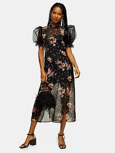topshop-organza-oriental-split-midi-dress-black