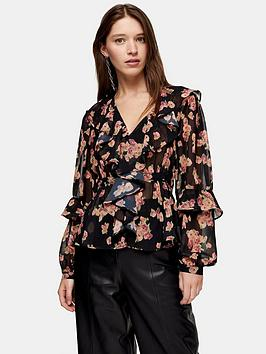 topshop-floral-ruffle-bed-jacket-blouse-multi