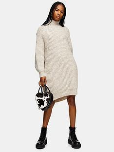 topshop-oversizednbspknitted-curved-hem-jumper-dress-mink