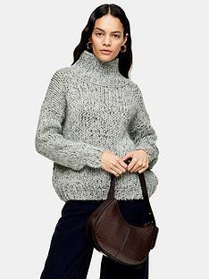 topshop-chunky-knit-funnel-neck-jumper-mint