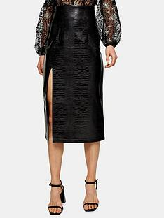 topshop-pu-croc-pencil-midi-skirt-black
