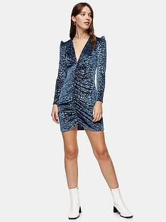 topshop-animal-ruched-velvet-mini-dress-blue