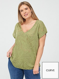 v-by-very-curve-floral-burnout-tee-khaki