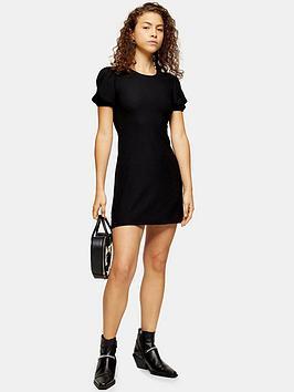 topshop-topshop-petite-cinckle-puff-sleeve-mini-dress-black