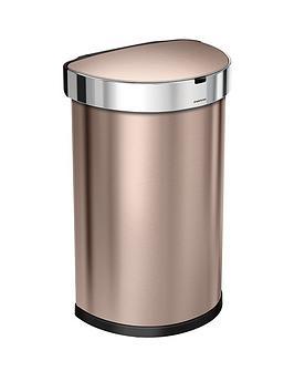 simplehuman-45-litre-single-compartment-stainless-steel-semi-round-sensor-bin-ndash-rose-gold