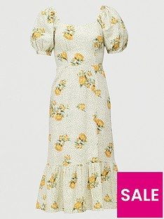 v-by-very-shirred-back-square-neck-printed-linen-midi-dress-print