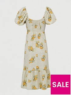 v-by-very-shirred-back-square-neck-printed-linen-midi-dress-print