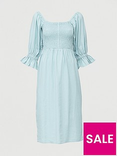 v-by-very-shirred-body-linen-midi-dress-blue