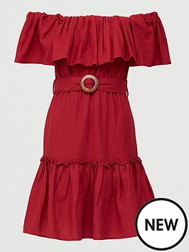 v-by-very-frill-bardot-mini-dress-burgundy