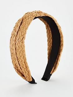 v-by-very-raffia-knot-hairband-brown